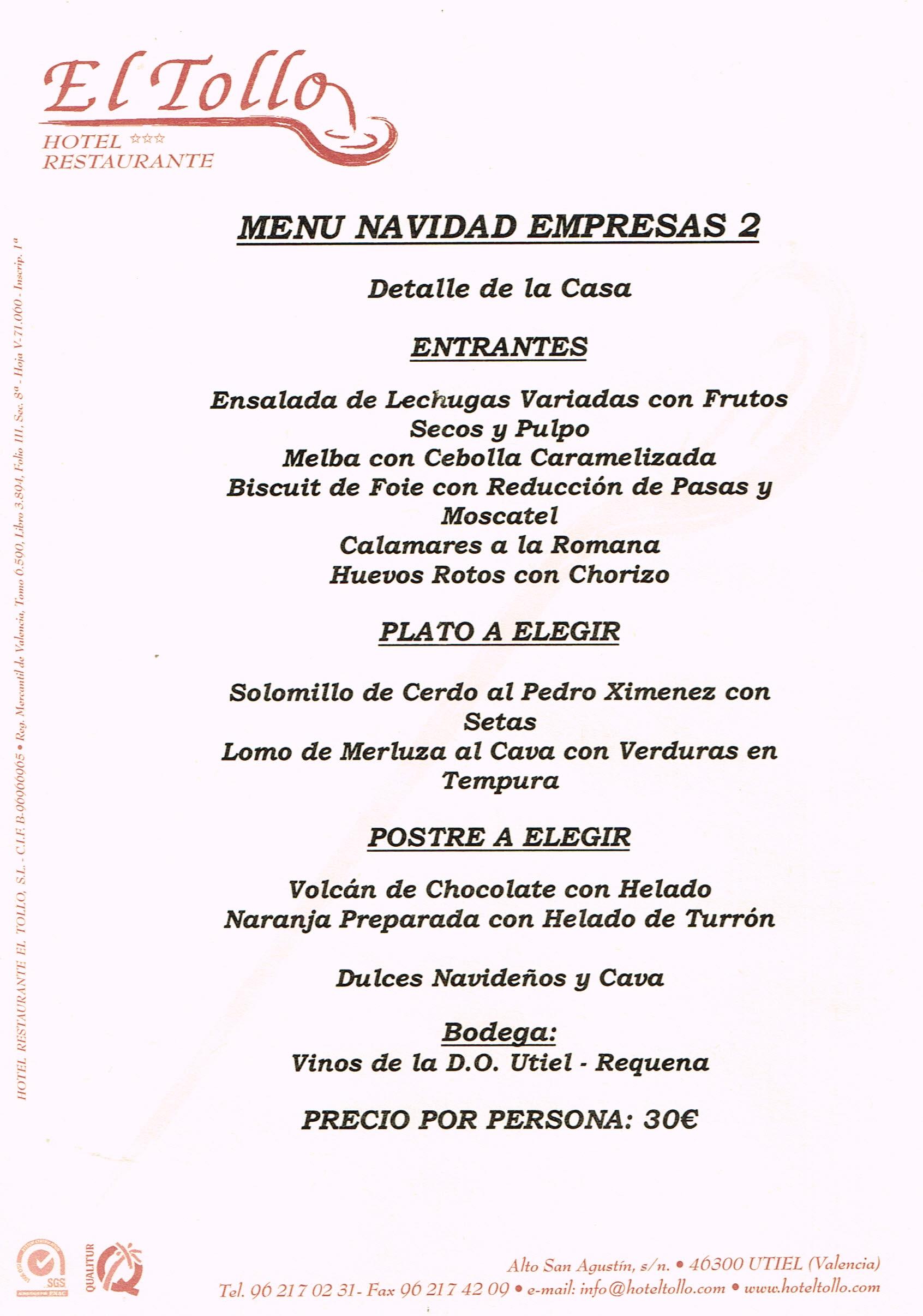Men S Navidad Para Tus Cenas De Empresa O Amigos Hotel Tollo ~ Menu Para Cena Con Amigos En Casa
